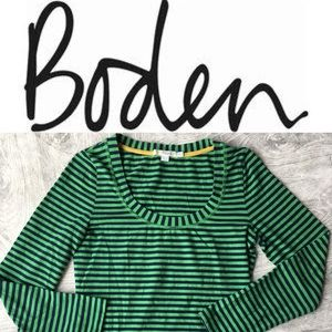 Boden stripe long sleeve scoop neck top size 6